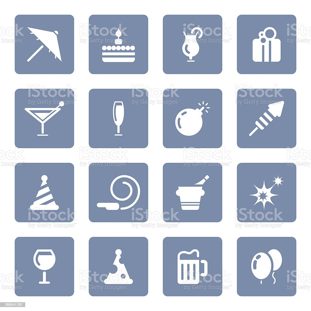 Party & Celebration icons | blue series royalty-free stock vector art