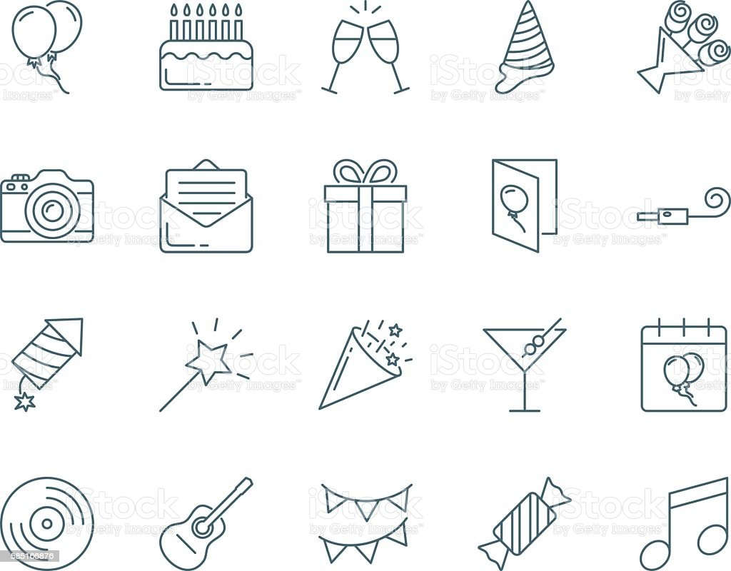 Party and birthday vector icons set modern line style vector art illustration