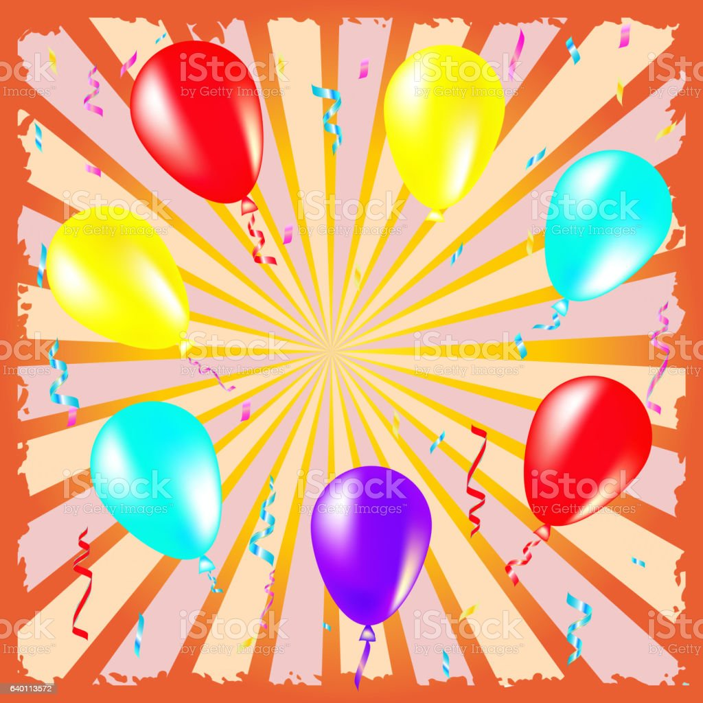 Party and celebration background with balloons, streamers vector art illustration