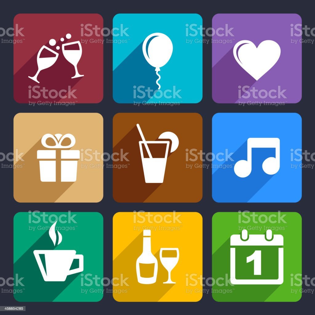 Party and Celebration icons set 29 royalty-free stock vector art