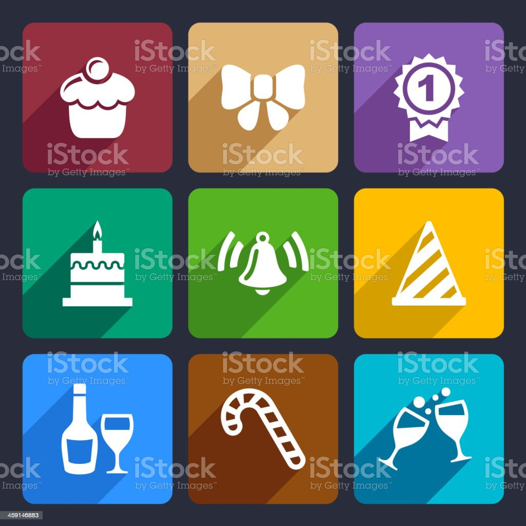 Party and Celebration icons set 30 royalty-free stock vector art