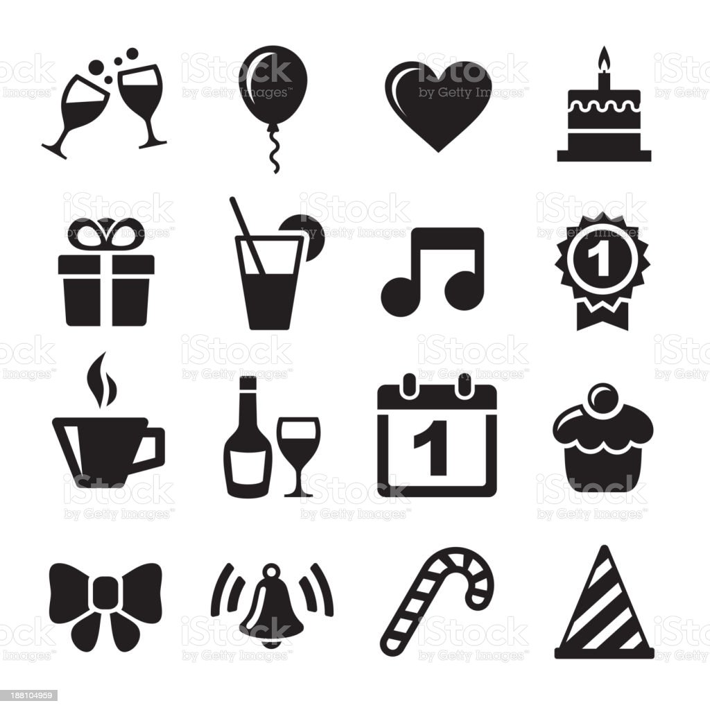 Party and Celebration icons royalty-free stock vector art