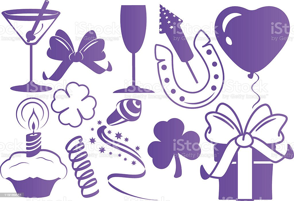Party and celebration silhouettes purple royalty-free stock vector art