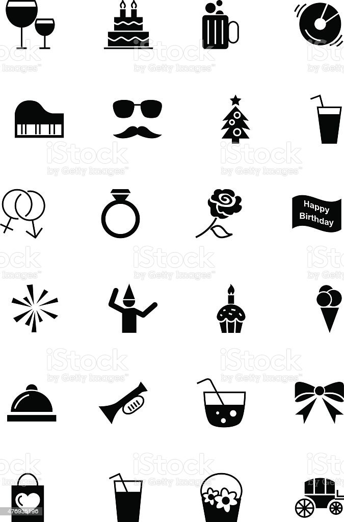 Party and Celebration Vector Icons 3 vector art illustration