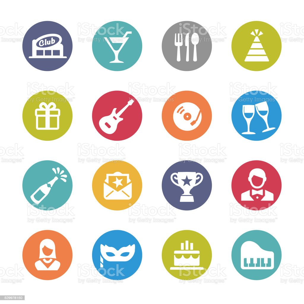 Party and Dinner Icons - Circle Series vector art illustration