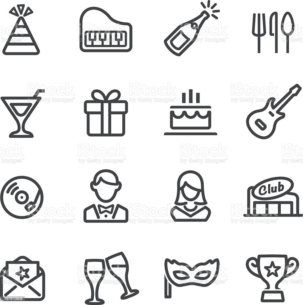 Party and Dinner Icons - Line Series vector art illustration