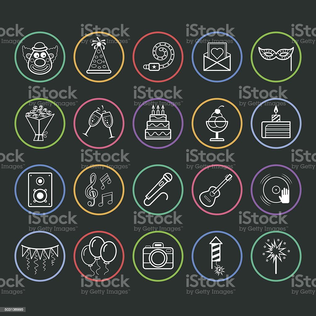 Party and holiday icon vector art illustration