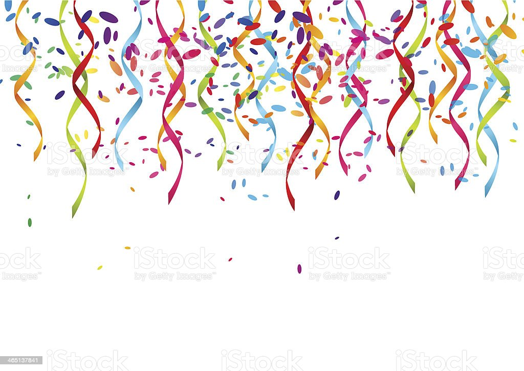 Party background with color ribbons vector art illustration
