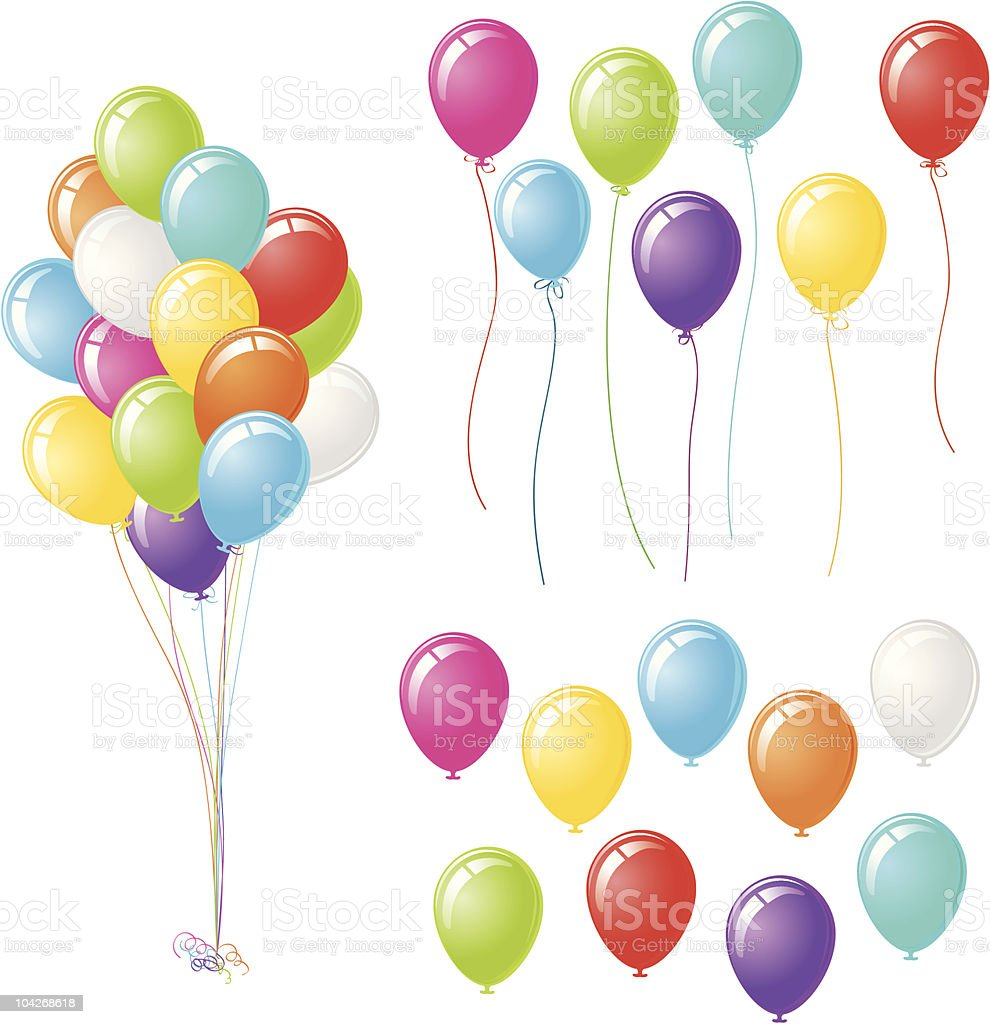 Party Balloons with Three Design Options vector art illustration