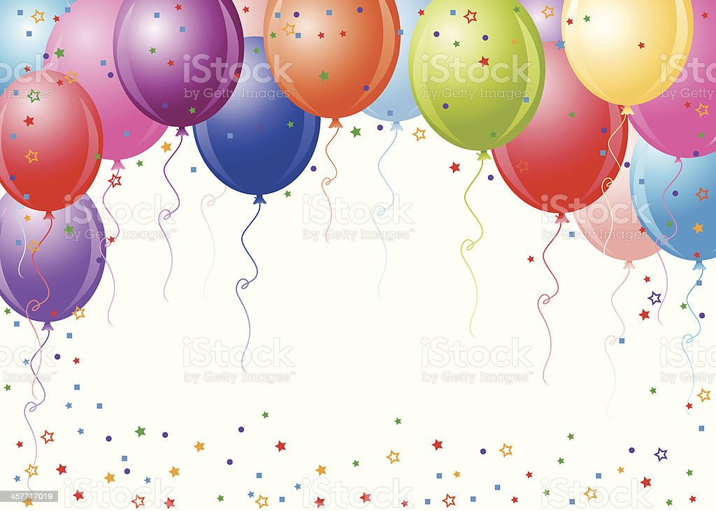 Party Balloons With White Background vector art illustration