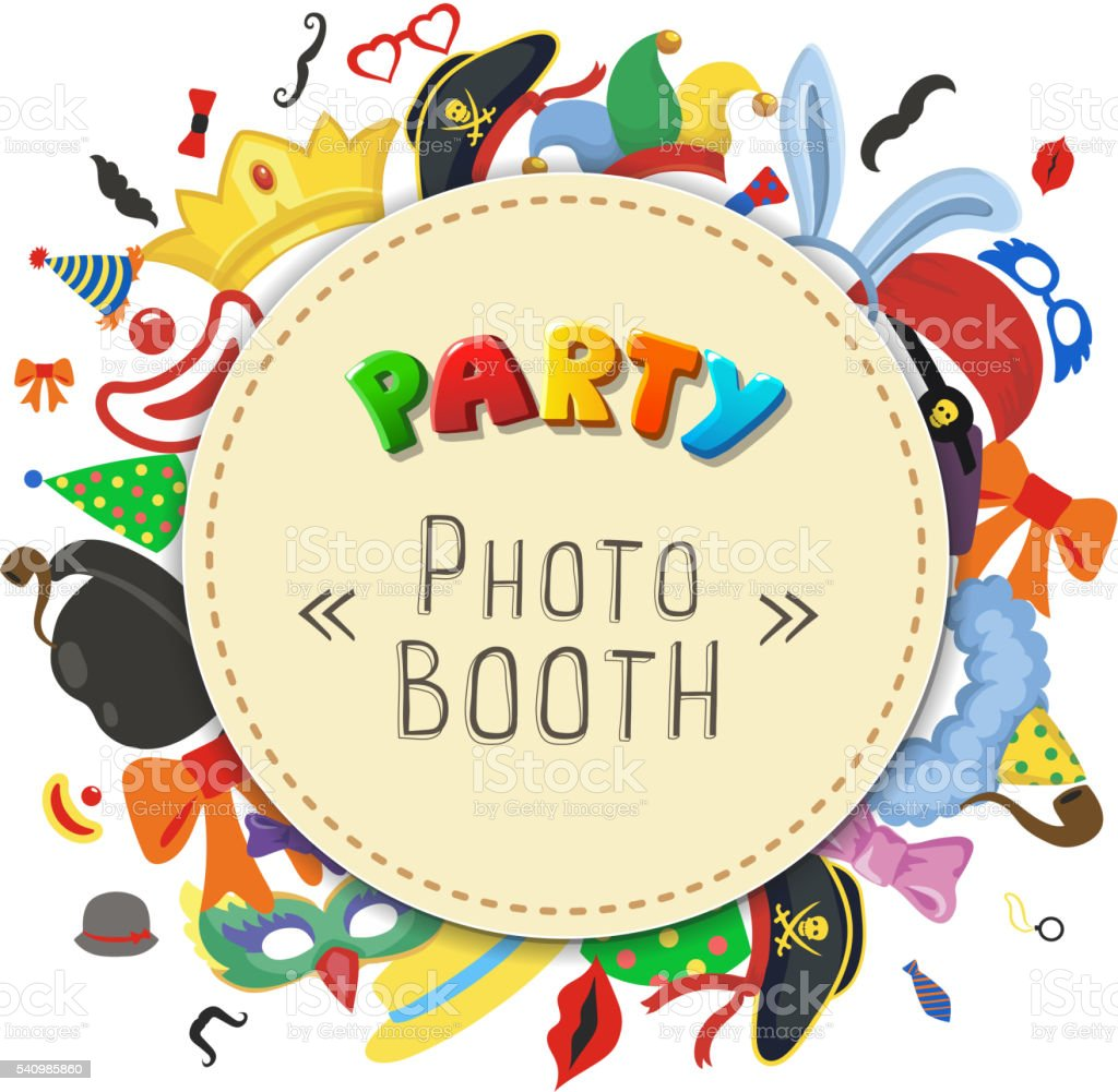 Party Birthday photo booth props. vector art illustration