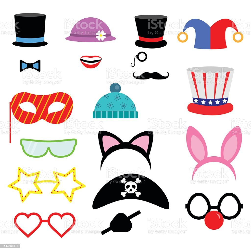 Party Birthday photo booth props. . Vector illustration.Flat collection vector art illustration