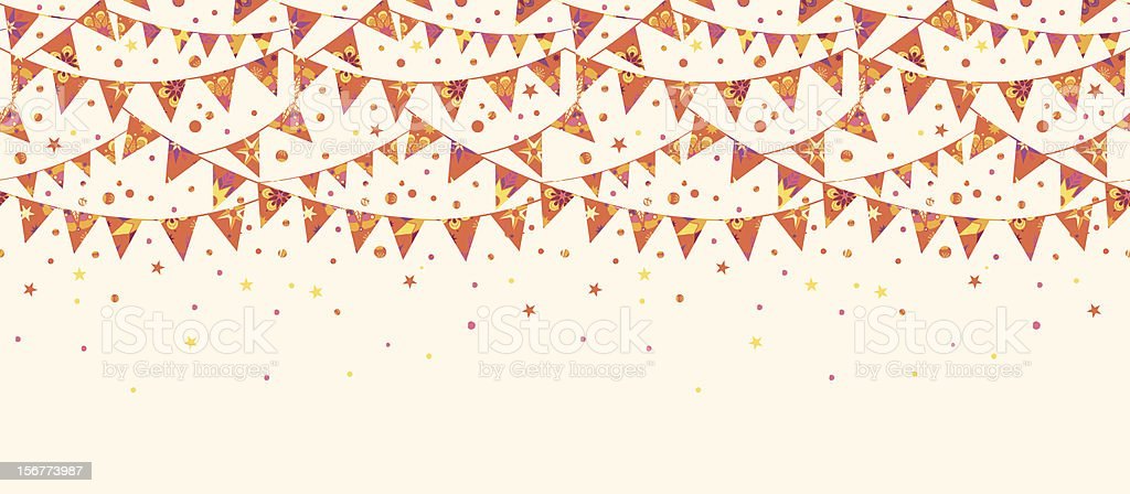 Party Bunting Flags Horizontal Seamless Pattern Ornament royalty-free stock vector art