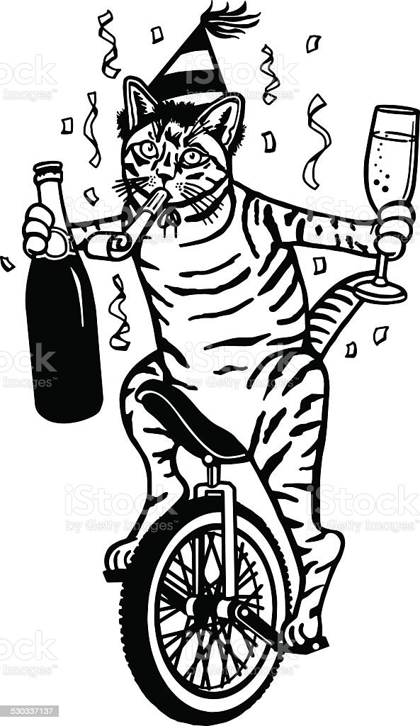 Party Cat on a Unicycle vector art illustration