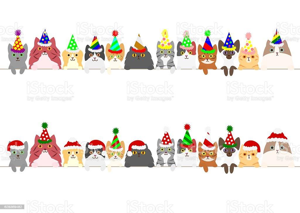 party cats border set vector art illustration