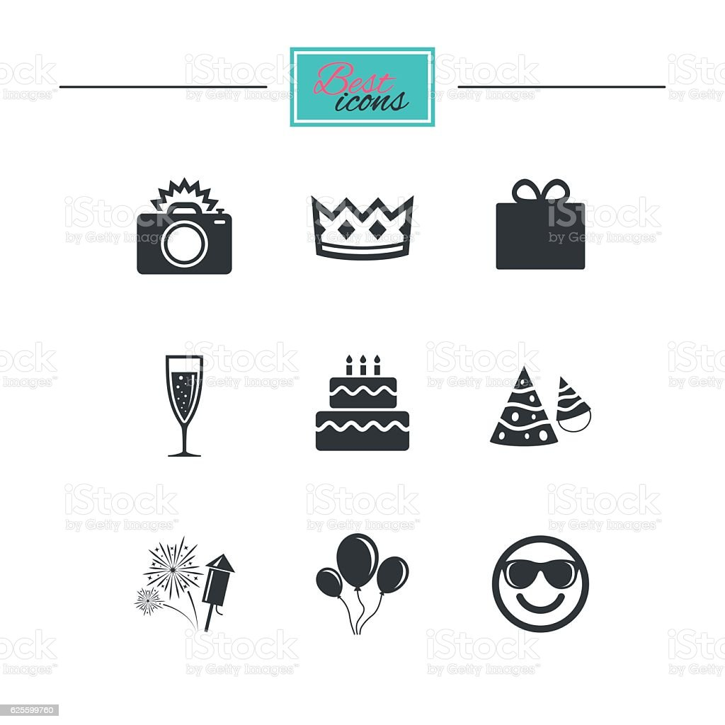 Party celebration, birthday icons. Fireworks. vector art illustration