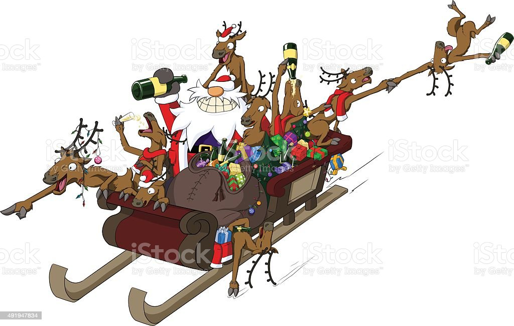 Party Christmas Cartoon, Sleigh Ride vector art illustration