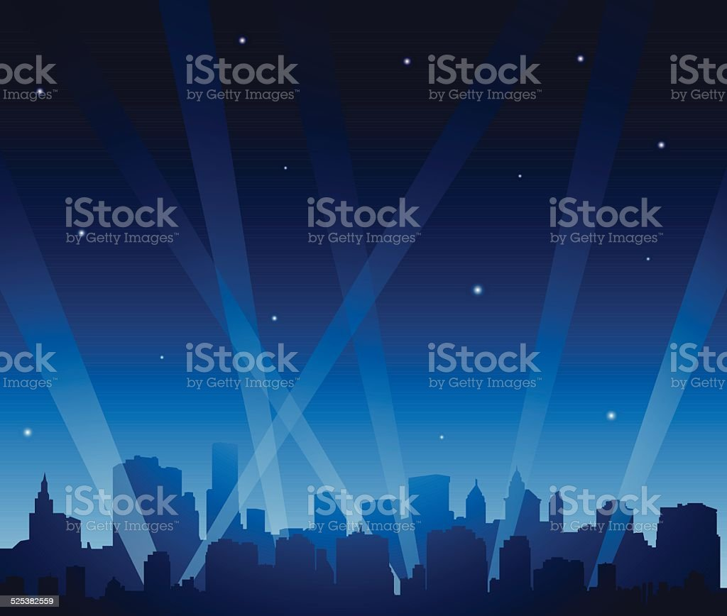 Party city at night vector art illustration