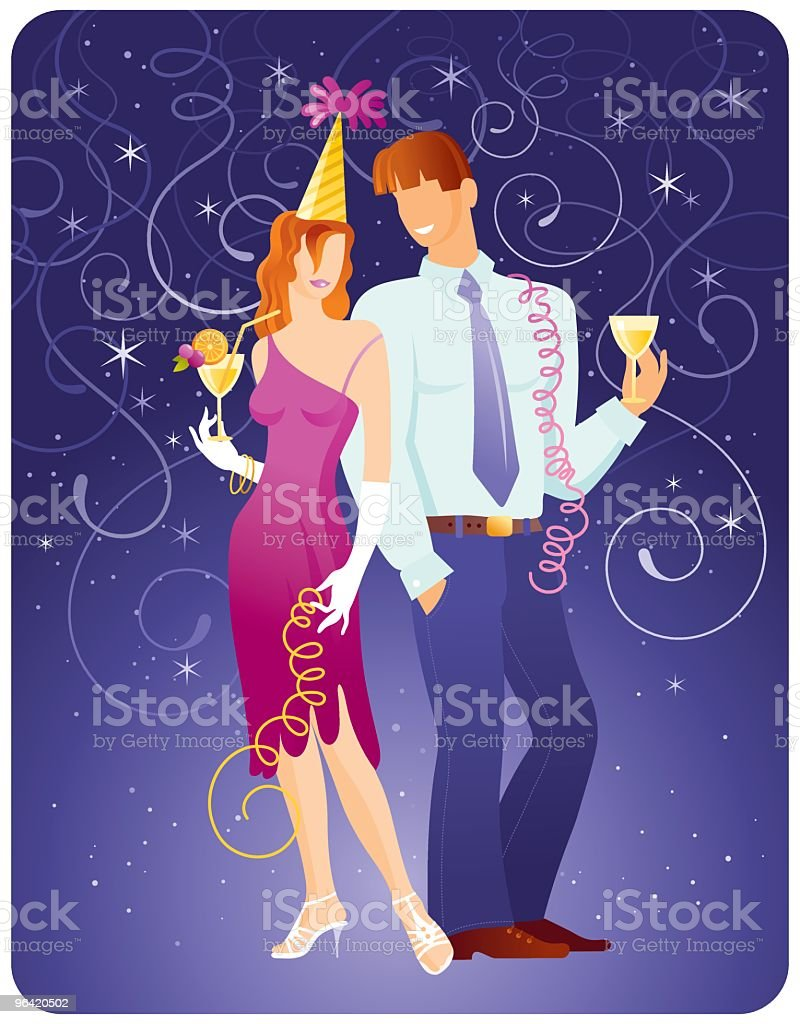 Party couple vector art illustration