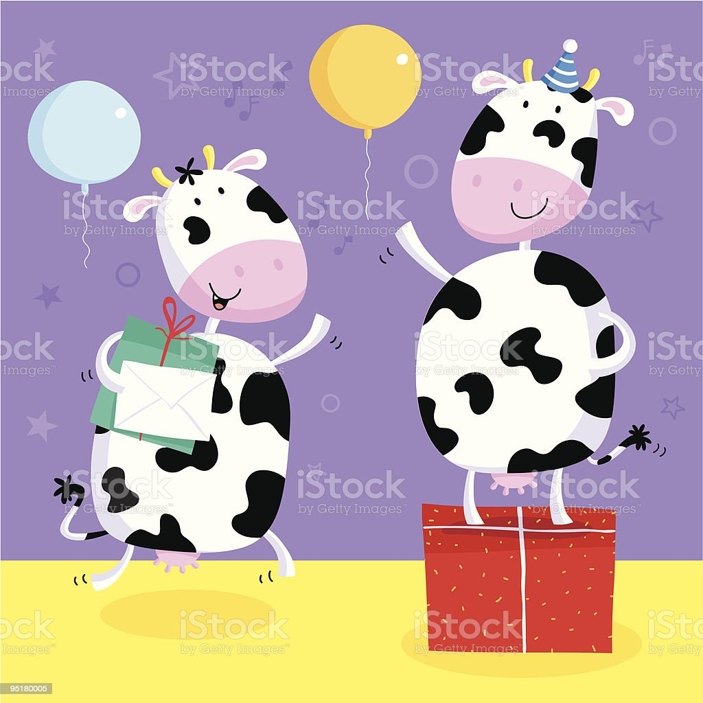 Party Cows royalty-free stock vector art