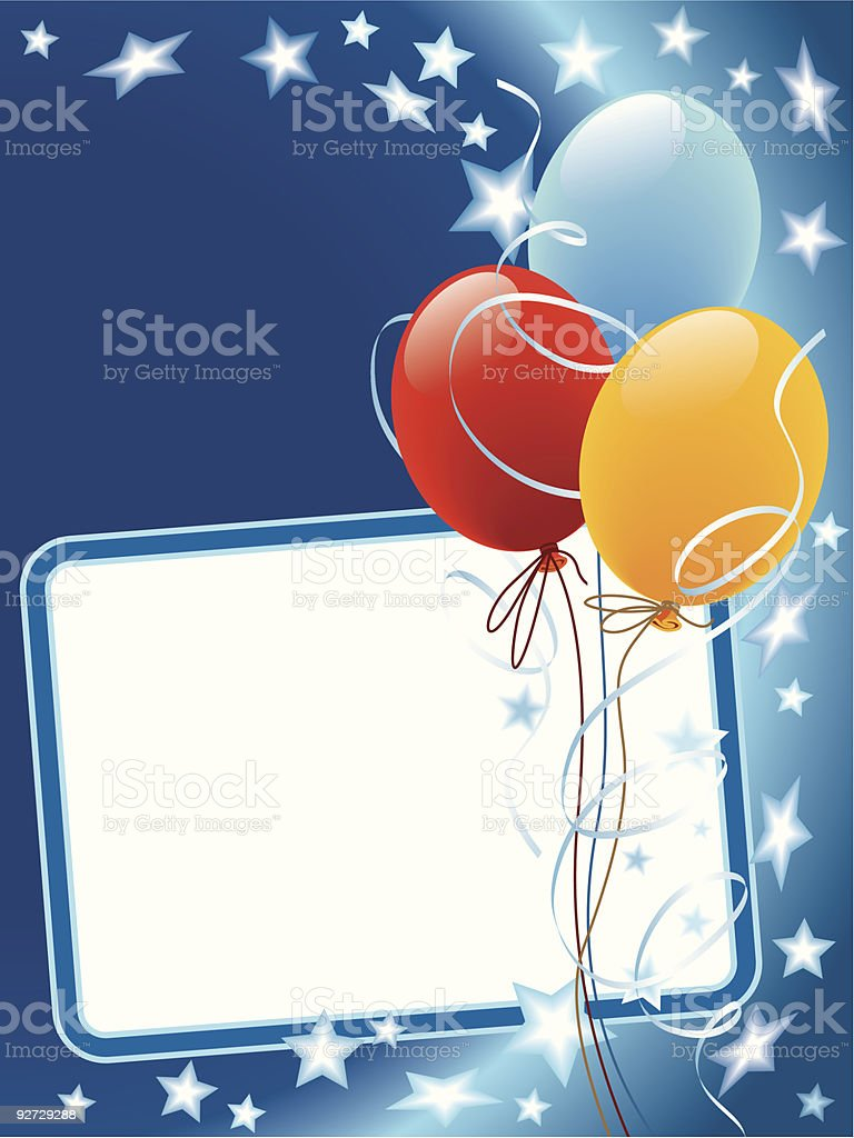 Party decorations with balloons and stars royalty-free stock vector art