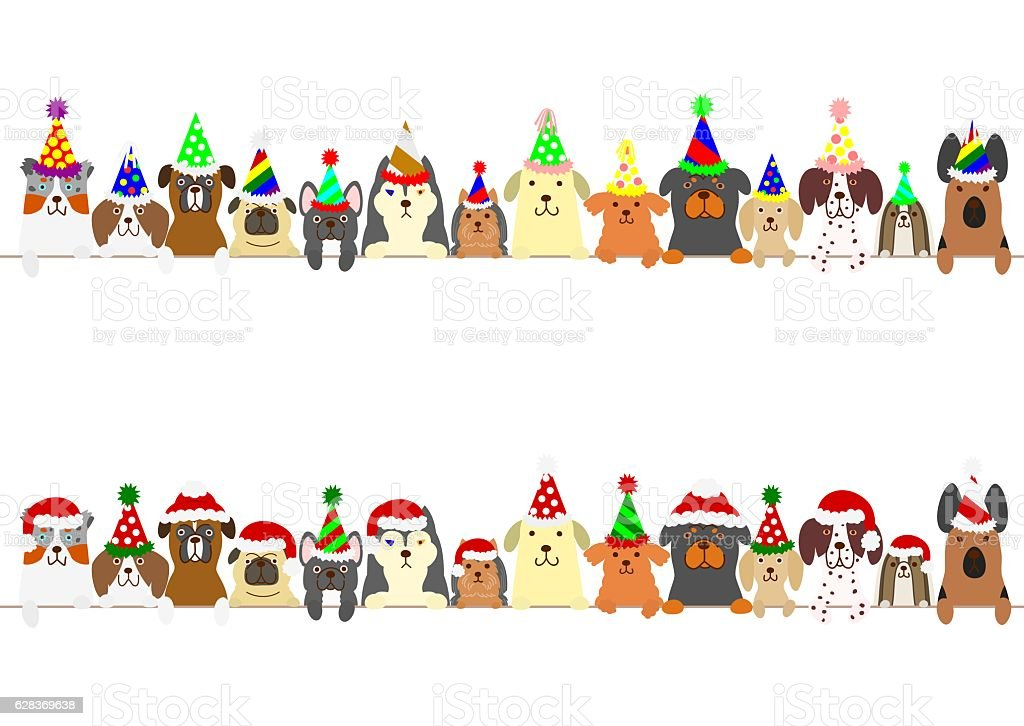 party dogs border set vector art illustration