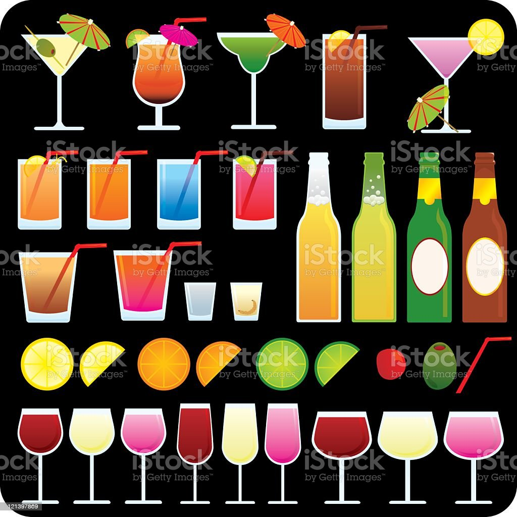 Party drink icons on black background vector art illustration