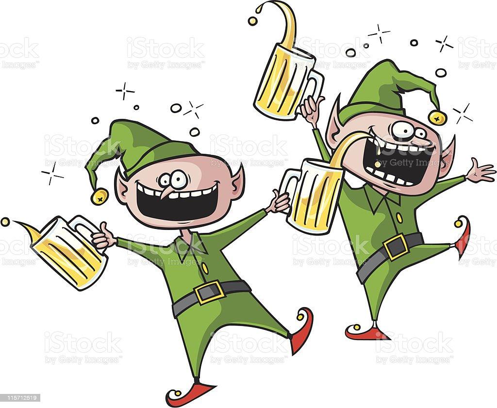 Party Elves vector art illustration