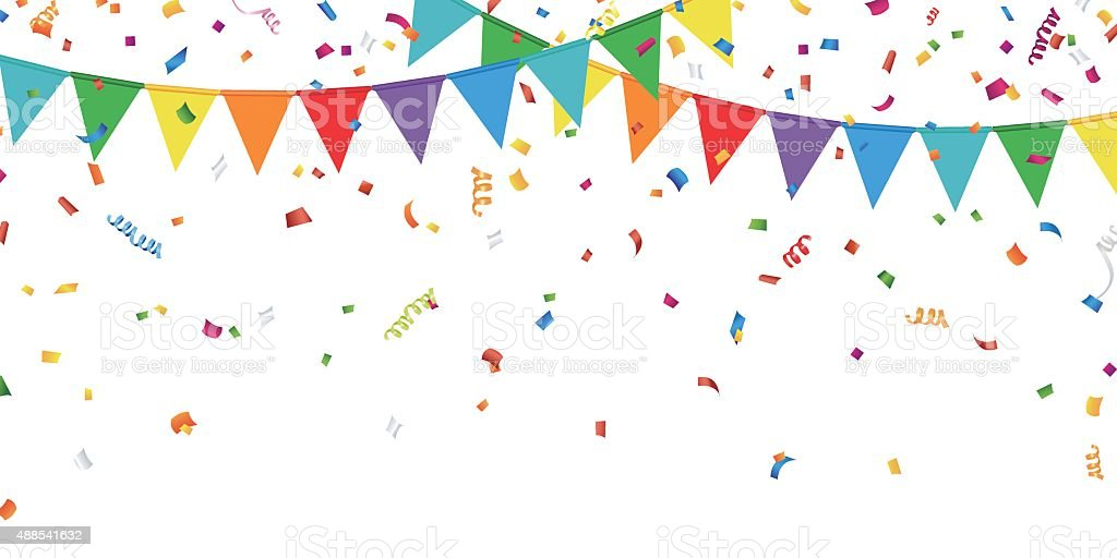 Party Flags and Confetti vector art illustration