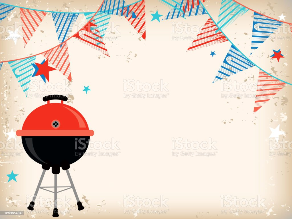 Party Flags with a Grill background vector art illustration