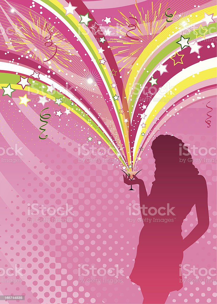 Party girl silhouette royalty-free stock vector art