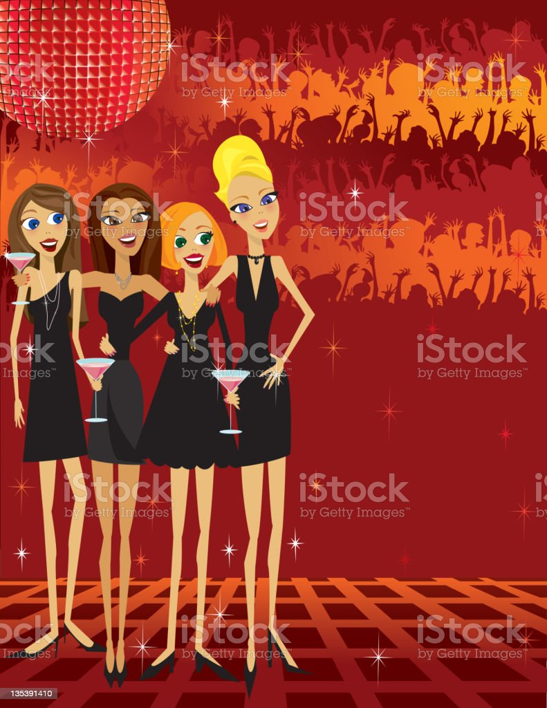 Party Girls, little back dress, disco ball and background crowd royalty-free stock vector art