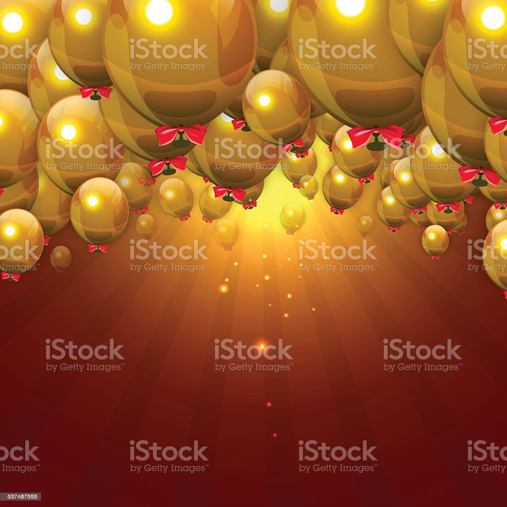 Party Gold Balloons Background with Red Jazzbow. Stock Vector Illustration vector art illustration