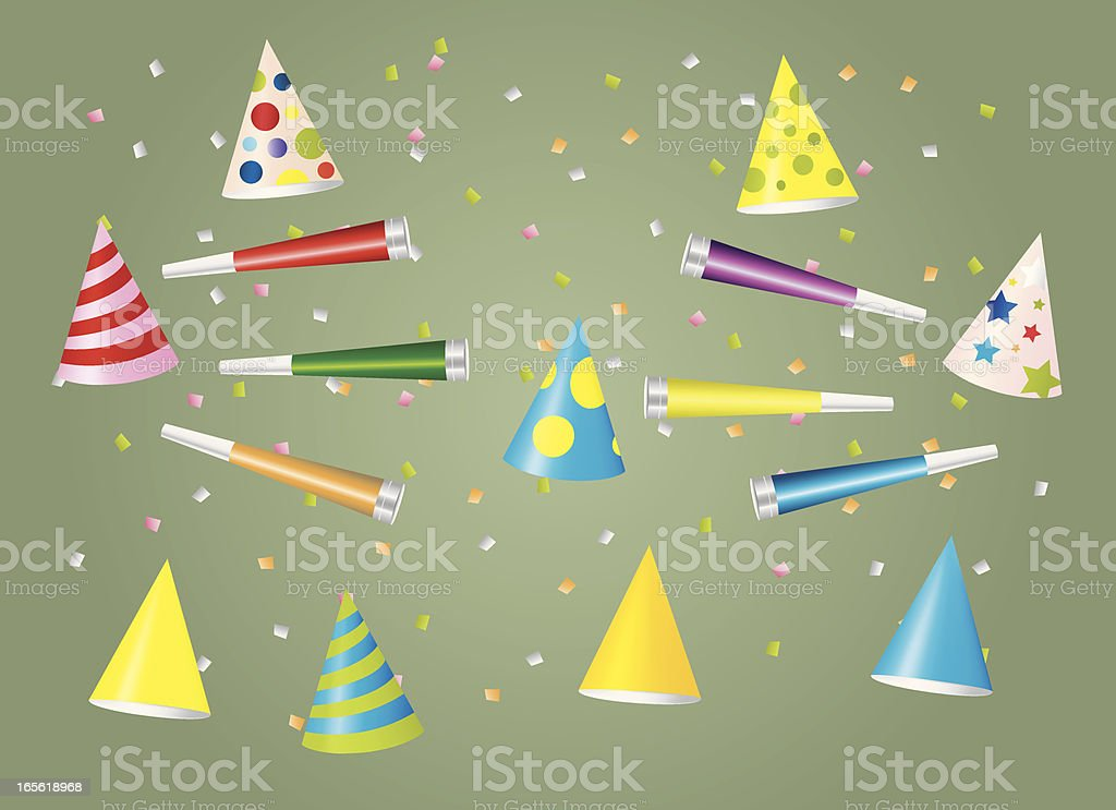 Party Hats and Horns vector art illustration