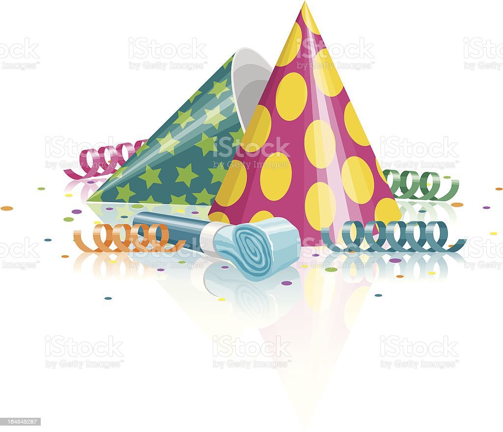 Party Hats, Noisemaker, Confetti and Streamers vector art illustration