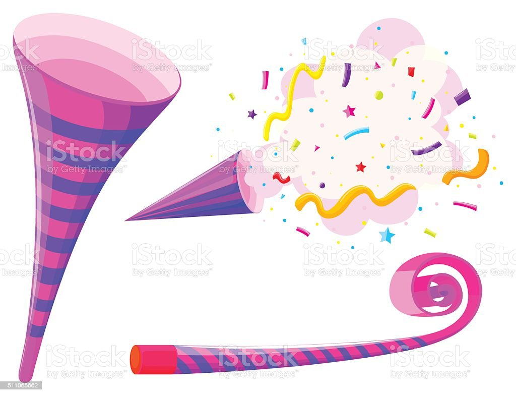 Party horn  musical straw vector art illustration