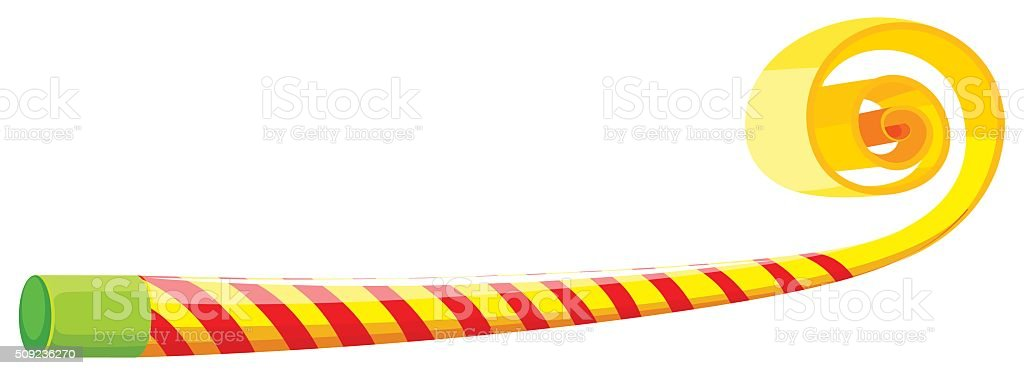 Party horn with yellow and red striped vector art illustration