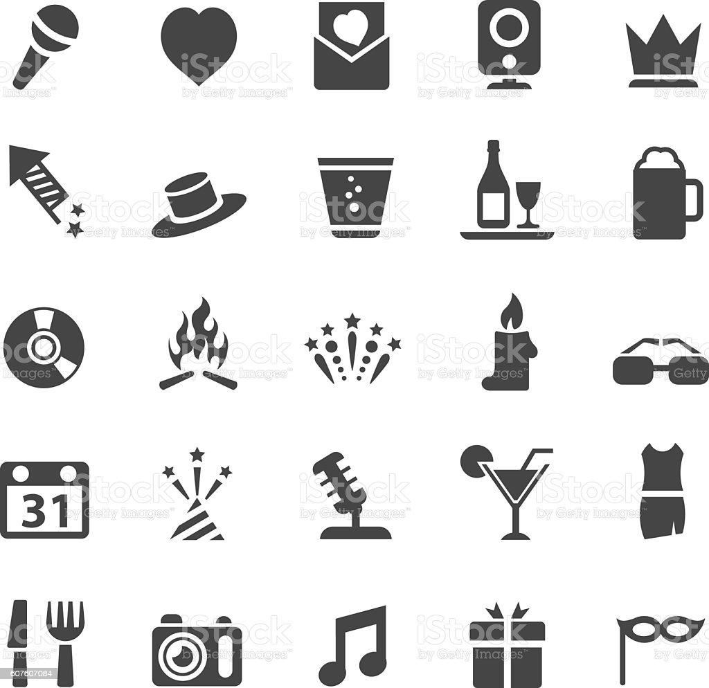 Party icon set vector art illustration
