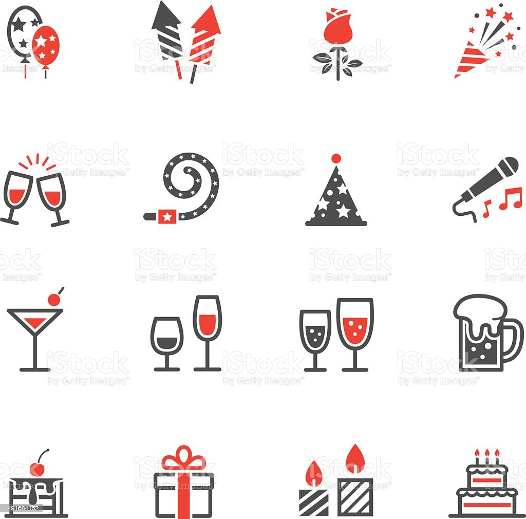Party Icons and Celebration Icons vector art illustration