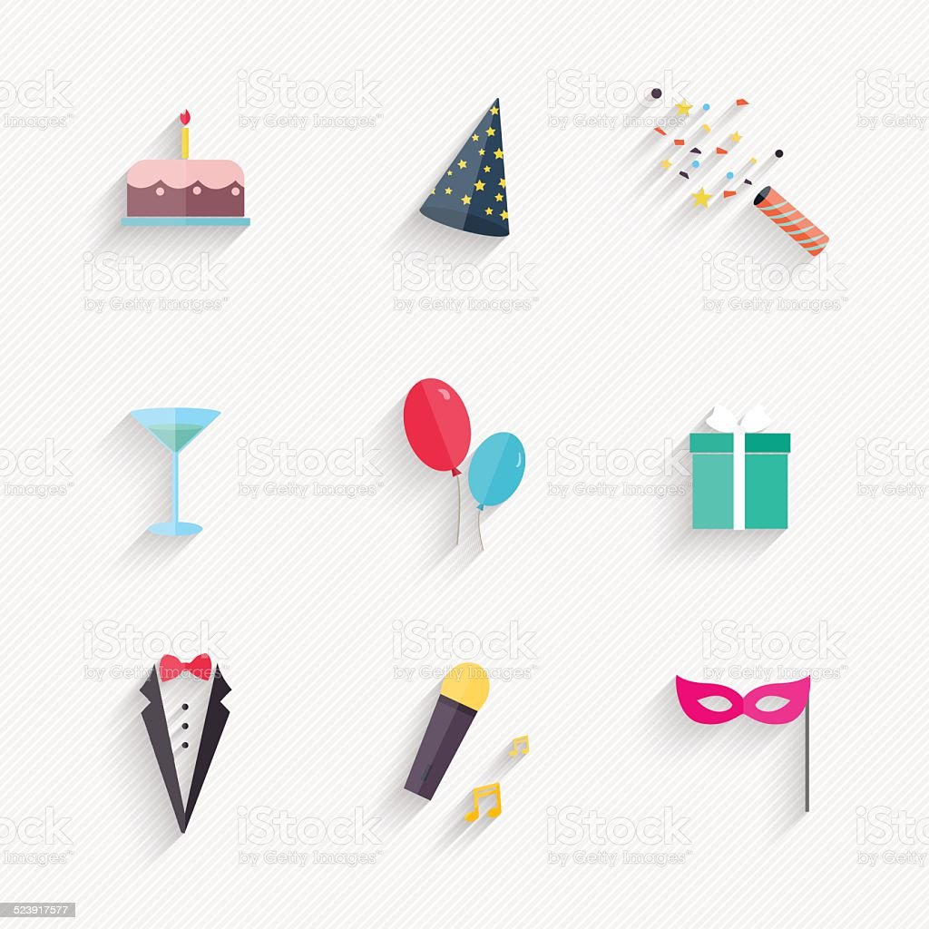 Party Icons and Celebration Icons with White Background vector art illustration