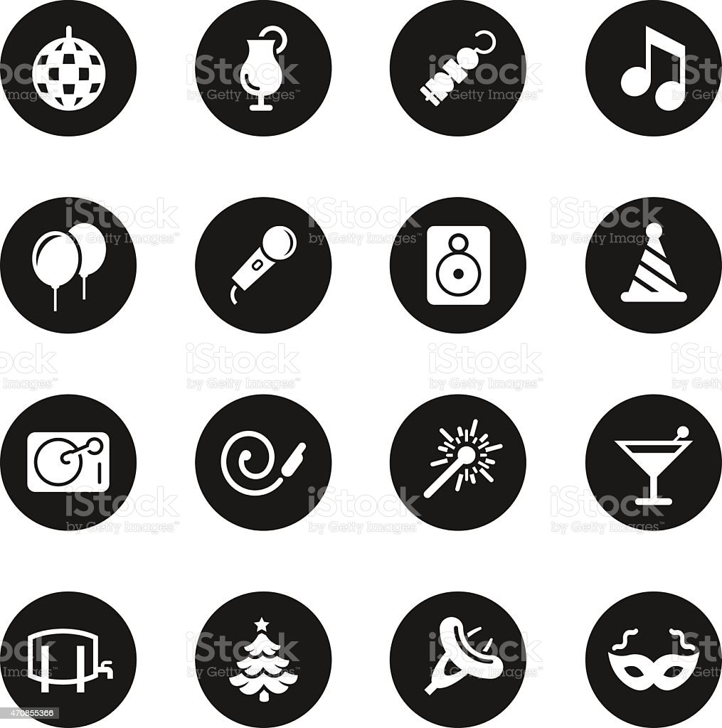 Party Icons - Black Circle Series vector art illustration