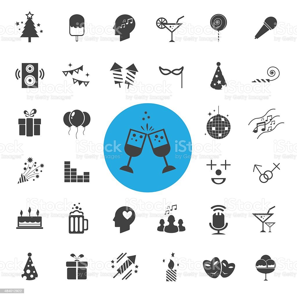 Party Icons set vector art illustration