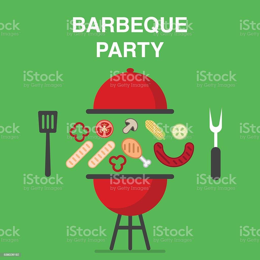 BBQ party illustration vector art illustration