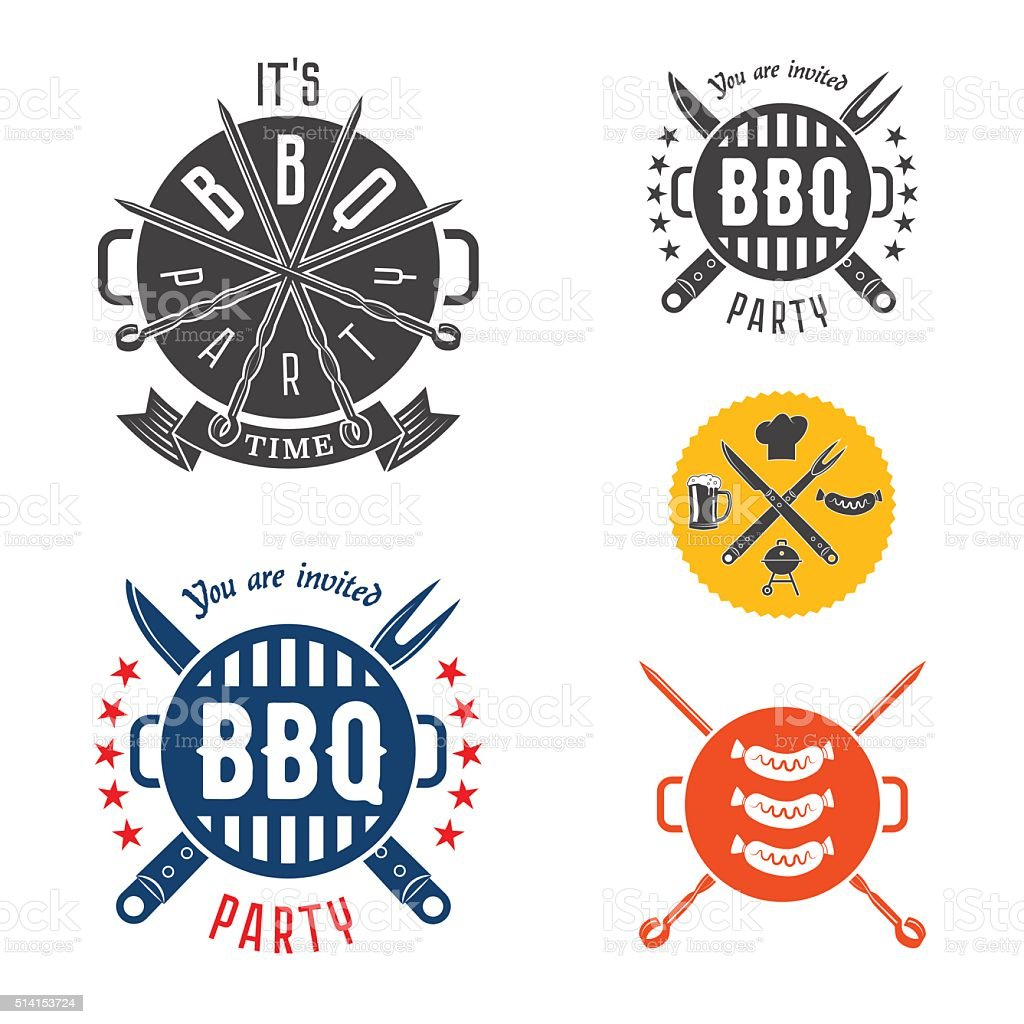 BBQ party invitation card elements vector art illustration