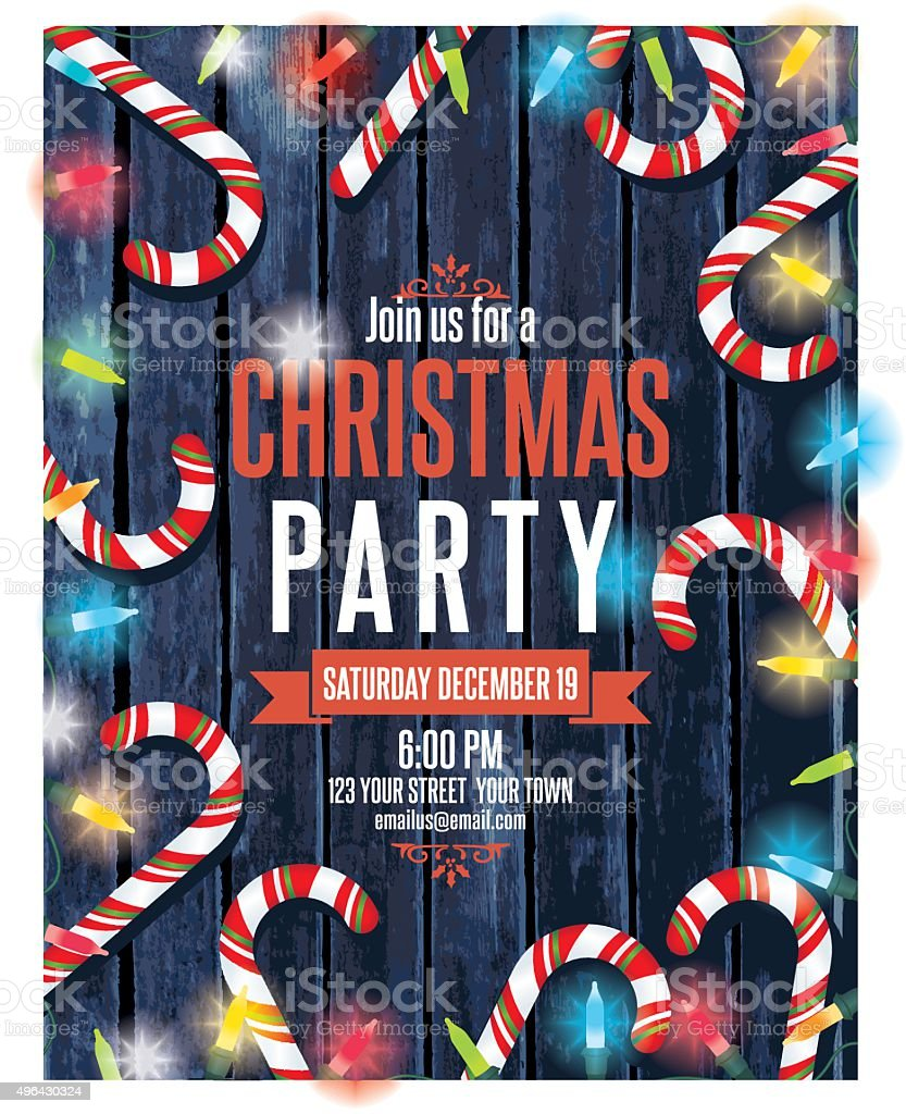 Party Invitation On Wood With Christmas Lights and Candy canes vector art illustration