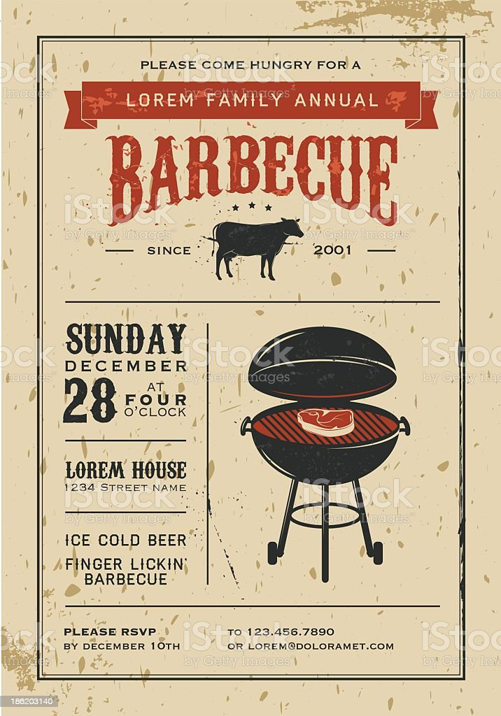 Party invitation with a vintage barbecue vector art illustration