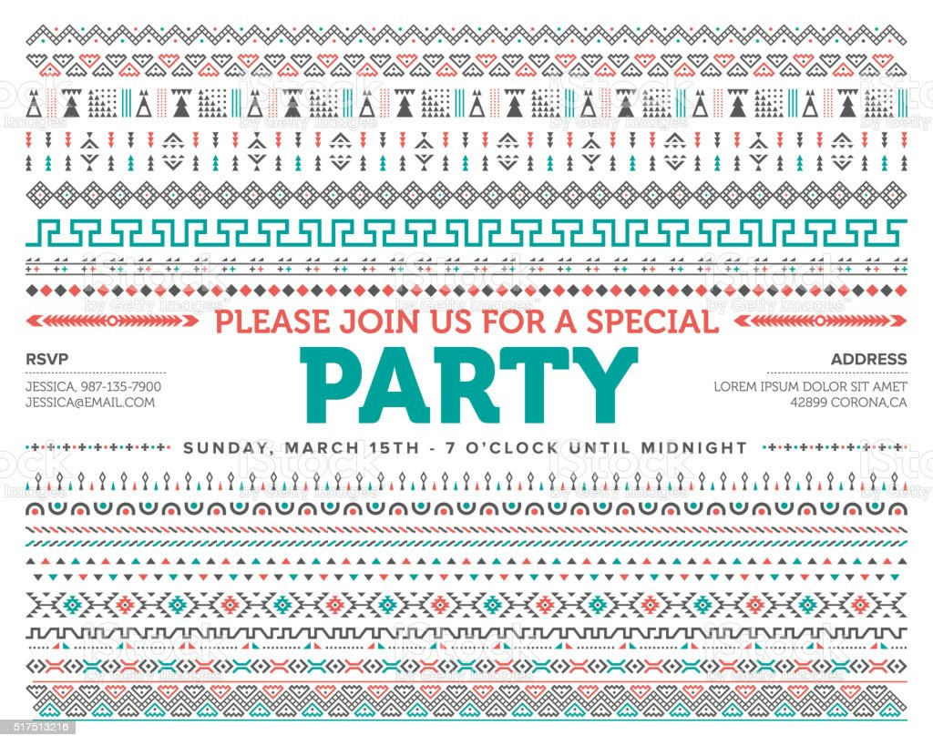 Party Invite Tribal Pattern vector art illustration