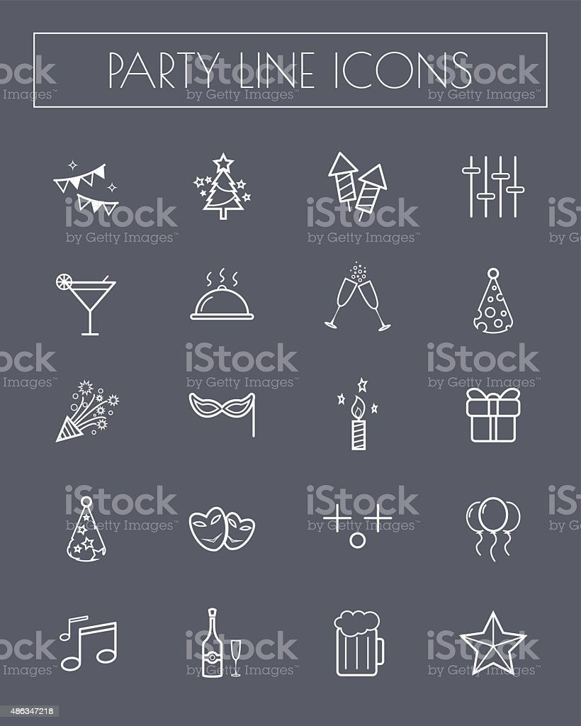 Party line icon set. vector art illustration