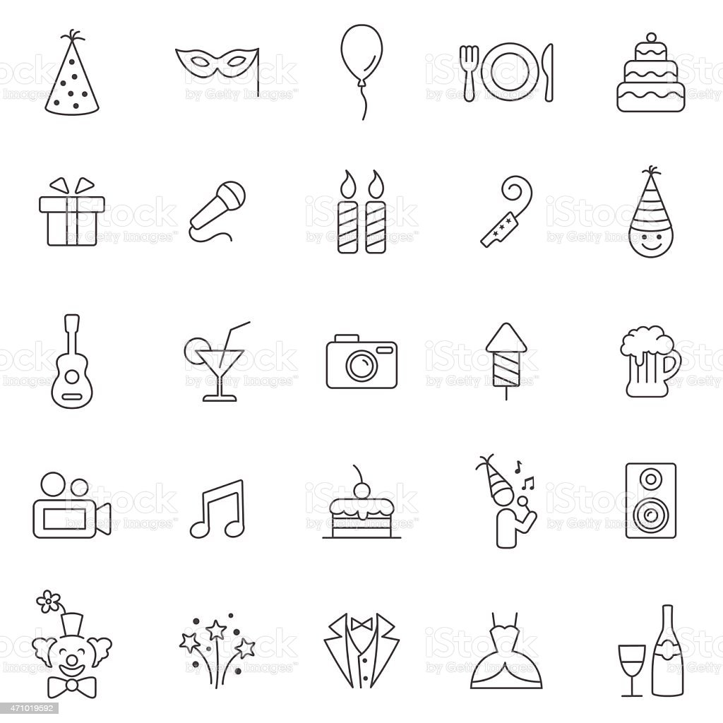 Party line icons set.Vector vector art illustration