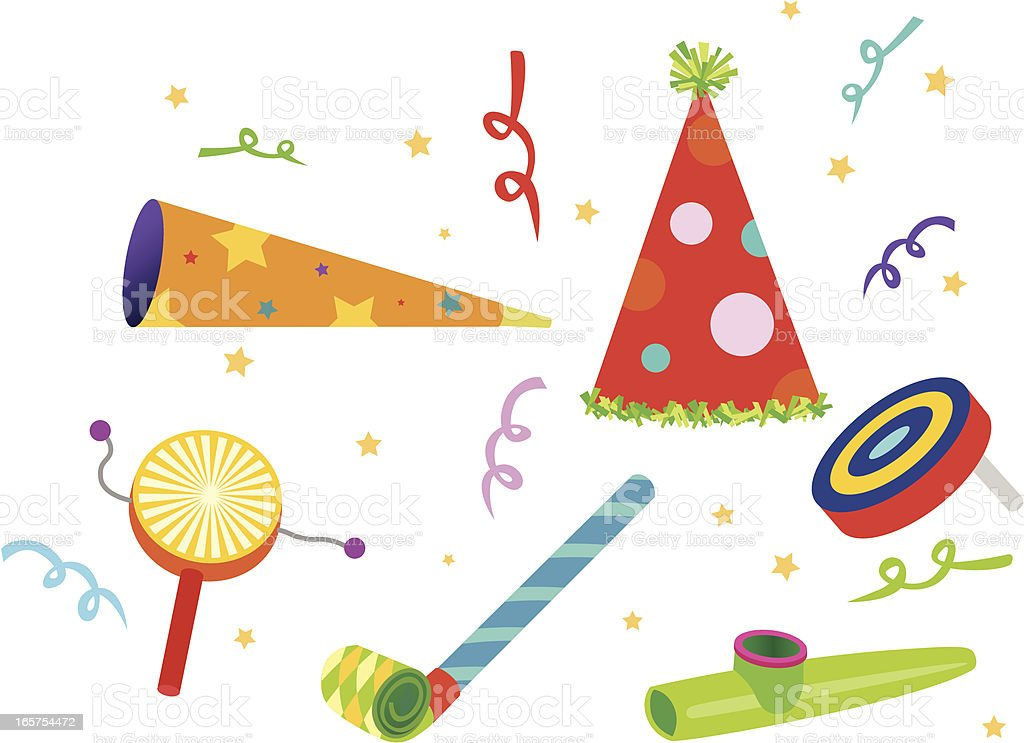 Party Noisemakers vector art illustration